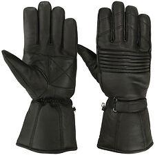 Winter Leather Motorcycle Gloves Motorbike Waterproof Glove Thermal Black Medium