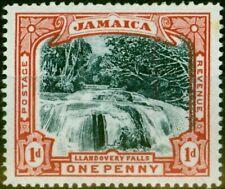 More details for jamaica 1901 1d slate black & red sg32avar blued paper vignette shifted to ri...