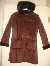 ROTHSCHILD~girls~BROWN/FAX/SUEDE/FAX/FUR/LINING/HOOD/COAT! (L/14)NEW! Free/Ship!