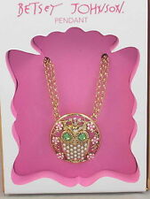 Betsey Johnson Goldtone Faux Pearl Crystal Owl Pendant Necklace Boxed $35