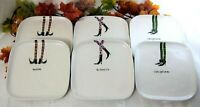 """6x Rae Dunn Halloween Witch Shoes Salad Lunch Dessert Plates Stoneware 8"""""""