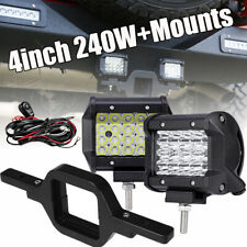 2X Quad 240W LED Backup Reverse Light+Tow Hitch Mount Bracket For Jeep Ford SUV