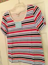 CHRISTOPHER & BANKS SPORT STRIPED RED WHITE BLUE TEE SIZE S NWT