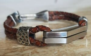 Mens stainless steel bracelet,braided tan leather,hand made in 5 sizes,quality