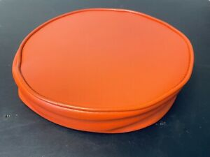"Vintage Orange Vinyl BAR STOOL REPLACEMENT SEAT TOP 14"" Diameter, 3.5"""
