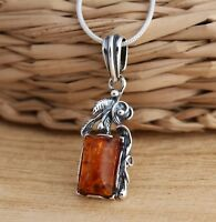 Cognac Baltic Amber 925 Sterling Silver Stylish Pendant Chain Necklace Jewellery