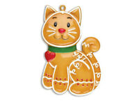 Gingerbread Cat Personalized Christmas Ornament  OR1221