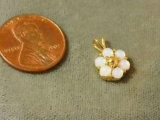 Vintage Trifari White Opal Cabochon Cluster gold tone Pendant Flower 7j 115