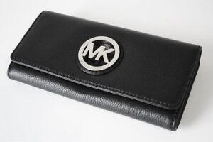Michael Kors Purse / Purse Leather Black/Black Fulton Silver