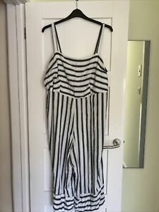 Ladies White & Black Striped New Look Curves Jumpsuit Size 24
