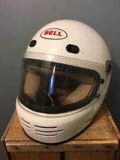 Vtg Bell Helmet M2 White Full Face Motorcycle Road Bike Visor 7-1/2 Racing Snell