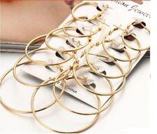 Set of 6 pairs Gold Hoops Earrings Circle Round Pack of 6 Gift Wedding Bridal UK