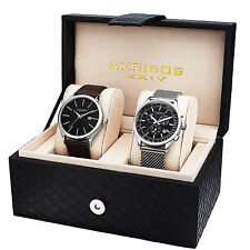 Akribos XXIV AK737-2 Men's Quartz Chronograph Strap/ Mesh Bracelet Watch Set
