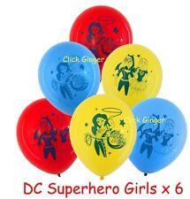 DC Superhero Girls Latex Balloons x 6 Wonderwoman Batgirl Supergirl Helium