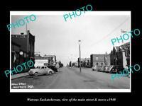 OLD LARGE HISTORIC PHOTO OF WATROUS SASKATCHEWAN, THE MAIN St & STORES c1940