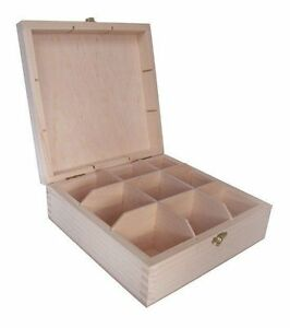 Pine wood 9 compartment storage box parts trinkets jewellery makeup craft clasp