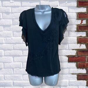 Per Una - Womens UK 14 Black Applique V-Neck Short Sleeve Stretch Top/Blouse