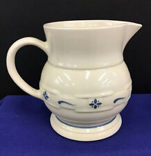 """LONGABERGER POTTERY WOVEN TRADITIONS LARGE PITCHER 7  1/4"""" Tall CLASSIC BLUE USA"""
