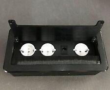 Einbausteckdose 3-fach+ Ethernet schwarz Tischsteckdose Bodensteckdose JU567