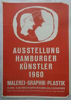 Poster Plakat - Ausstellung Hamburger Künstler - 1960