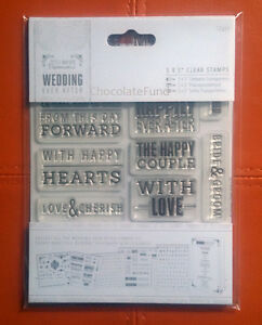 """Papermania 5 x 5"""" Clear Stamps (12pcs) Topper Sentiments - DIY Bride / Wedding"""