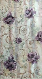 Croscill Chambord Sheer Curtain 2 Panels Floral Material Amethyst Lavender