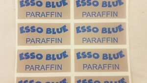 ESSO BLUE DECAL STICKERS VALOR PARAFFIN FUEL TIN ESSO BLUE PARAFFIN FUEL TIN