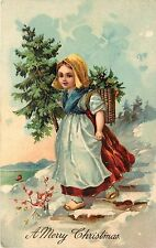 Vinatge PFB Chromolithograph Embossed Christmas Postcard Peasant Girl, Xmas Tree