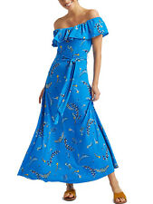 M&S BLUE PRINTED BARDOT OFF THE SHOULDER SHORT SLEEVE LONG MAXI DRESS 6 - 22