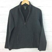 Eddie Bauer Women's Dark Grey 1/2 Zip Athletic Top Front Pocket Sweatshirt PM