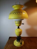 """VINTAGE  MID CENTURY PAINTED TOLE table LAMP Metal Shade Yellow, Black 19"""""""