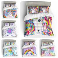 3D Rainbow Unicorn Kids Bedding Set Duvet/Comforter Cover Pillowcase Quilt Cover