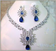 18k white gold over brilliant Blue Sapphire diamond Cocktail bridal necklace set