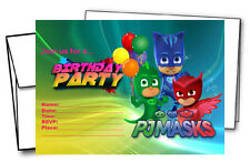 12 PJ Masks Birthday Invitation Cards (12 White Envelops Included) #1