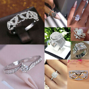 925 Silver Rings Women Gorgeous White Sapphire Wedding  Jewelry Gift Size 6-10