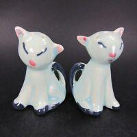 Vintage Cat Salt Pepper Shakers Set Kittens Blue Ceramic closed eyes    INV499