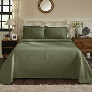 BEAUTIFUL XXXL COZY GREEN SAGE CHIC EXTRA LARGE SOFT BEDSPREAD QUILT SET NEW