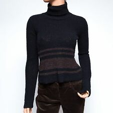 DKNY Jeans Black and Brown Striped Wool Turtle Neck Pullover Petite