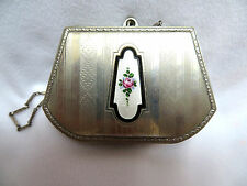 Antique Silver w/ Guilloche Enamel Rouge Lipstick Coin Dance Chatelaine Compact