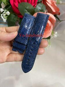 24mm Padded  Blue navy Genuine OSTRICH Leg LEATHER SKIN WATCH STRAP BAND