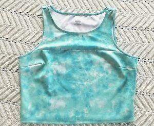 Decree Aqua Blue Stretch Sleeveless Cut Out Crop Top Juniors Size Large