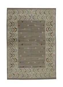 Wool Scandinavian Kilim Rug Traditional Carpet Geometric Beige Modern Rug127x178