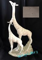 "PORCEVAL Spain FINE PORCELAIN ""GIRAFFES"" 14.75"" Figurine / VINTAGE COLLECTABLE"