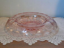 Depression Glass Pink Rolled Edge Console Bowl Wheel Cut Design