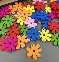 20-100PCs Wood Buttons Sewing Scrapbooking Flowers decorated 2 Holes Mixed Color