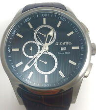 Mens Giantto G2L0070E Brown Genuine Leather Strap 42mm Quartz Watch