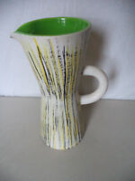 Mid Century Modern Studio Art Pottery French Hand Painted Pitcher Vase Signed!