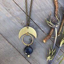 Minsi Necklace ~ Blue Jasper Brass Circle Crescent Moon Boho Antique Gold Chain