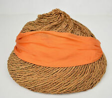 John Frederics Straw Hat Woven Millinery Orange Silk Bow Cloche 1940s
