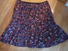 AXCESS, WOMEN'S Black/Purple Poly Lined Career Floral Full Skirt, Size 12